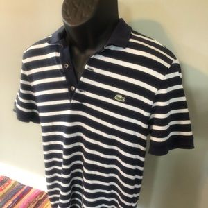 Lacoste Polo Shirt Striped Rugby Spellout Logo 3